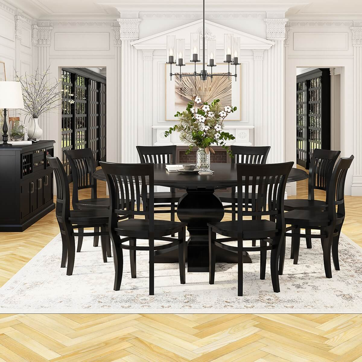 Sierra Nevada Solid Wood Pedestal 13 Piece Round Dining Room Set