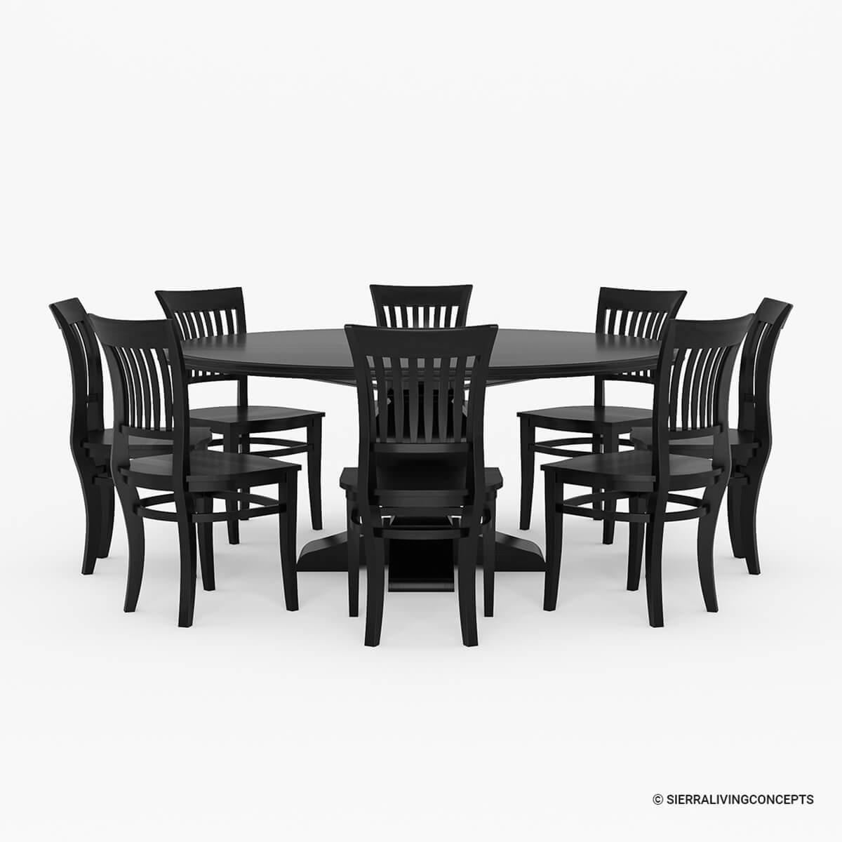 Sierra Nevada Solid Wood Pedestal 13 Piece Round Dining Room Set