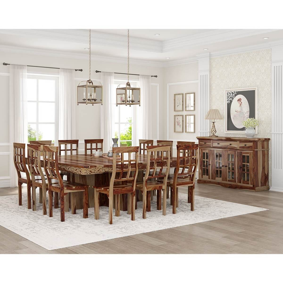 newest a203d e62c0 Dallas Ranch Square Pedestal Solid Wood 15 Piece Dining Room Set