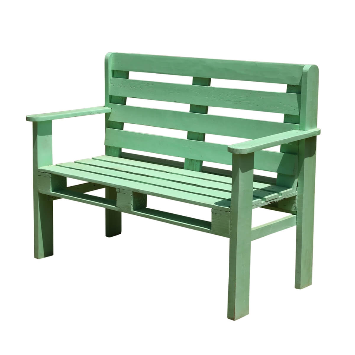 Spring Green Classic Handmade Tall Back Park Style Bench