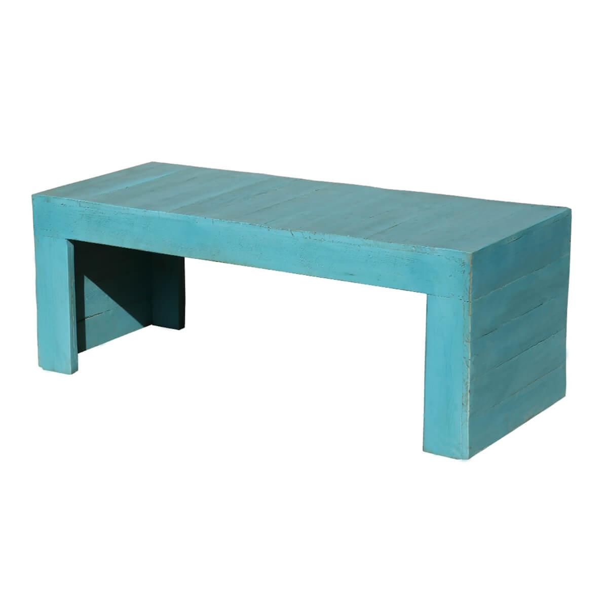 Sky Blue Handmade Patio Coffee Table Bench