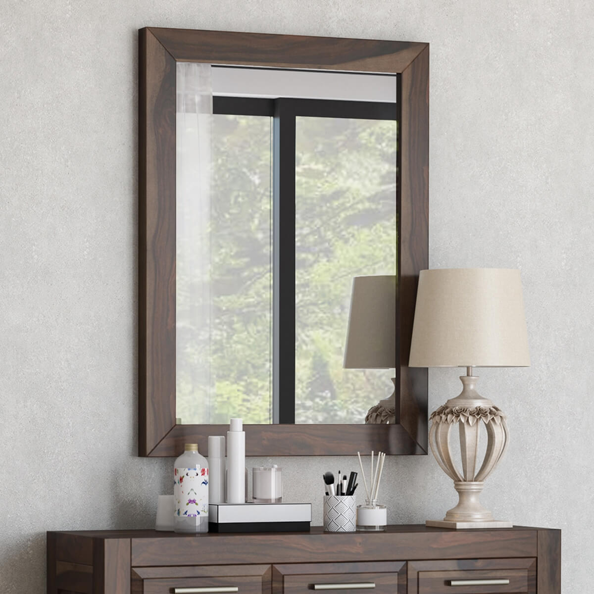 Sierra Nevada Handcrafted Solid Wood Rustic Large Fully Mirror Frame