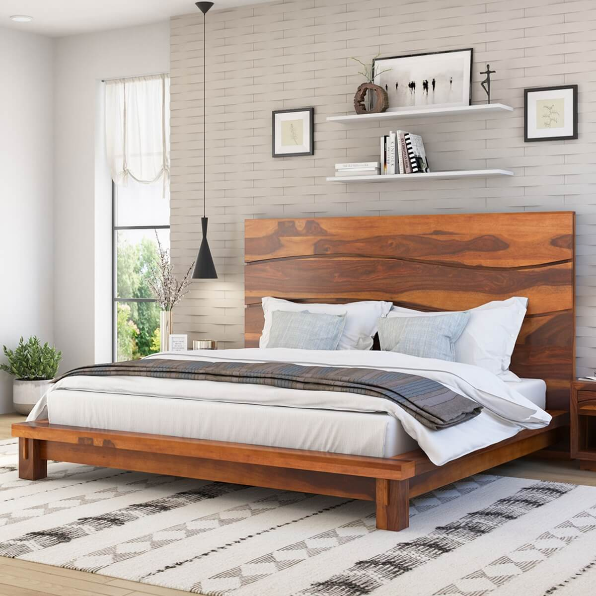 Picture of: Santa Barbara Solid Wood High Headboard Platform Bed