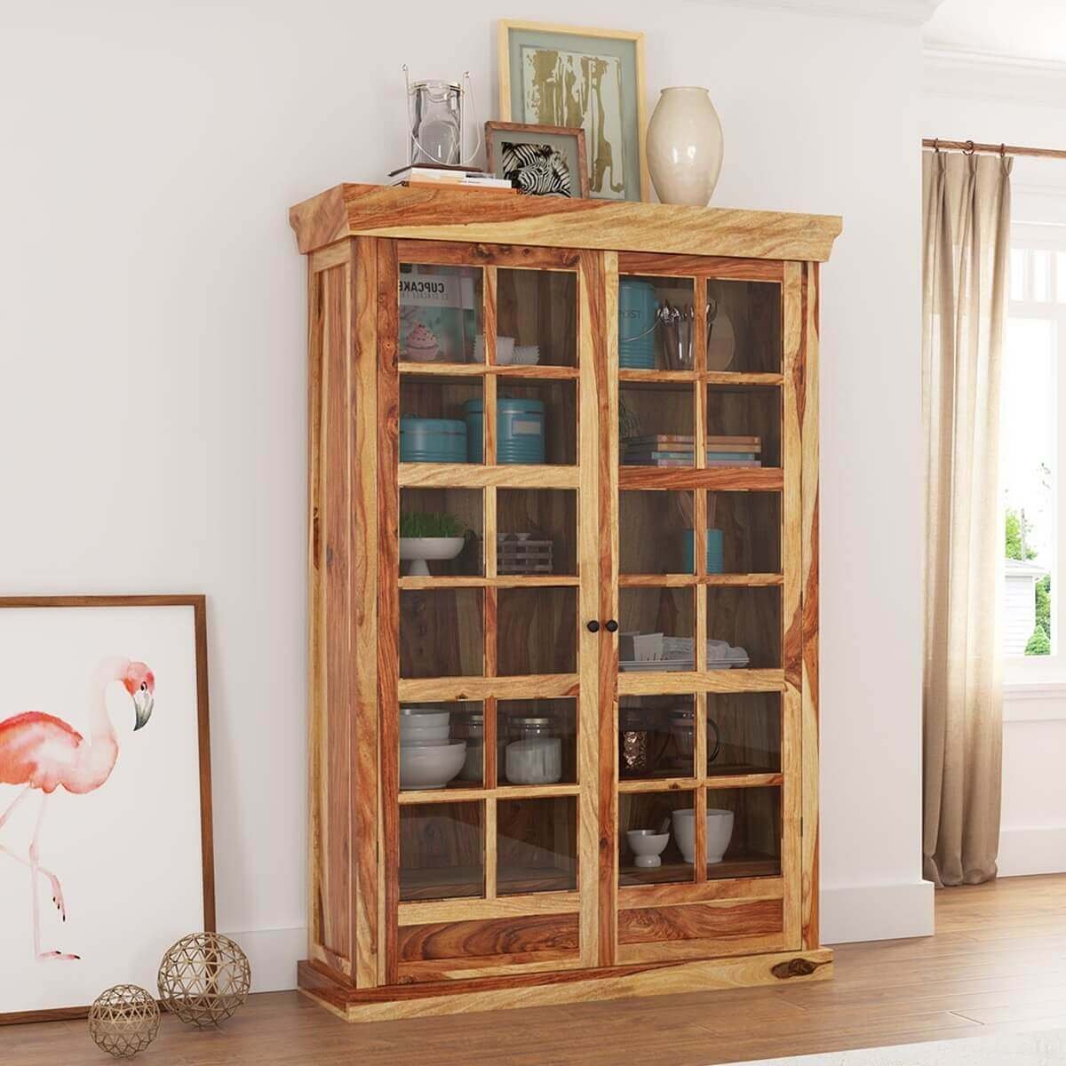 Peoria Rustic Solid Wood Glass Door Large Storage Cabinet
