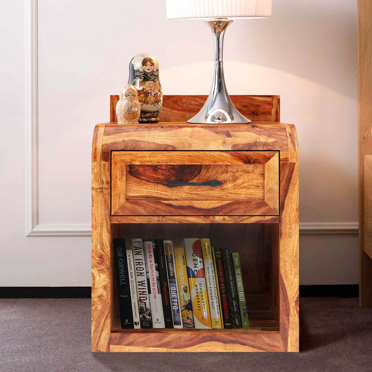 Rebecca Solid Wood Single Drawer Open Storage Nightstand