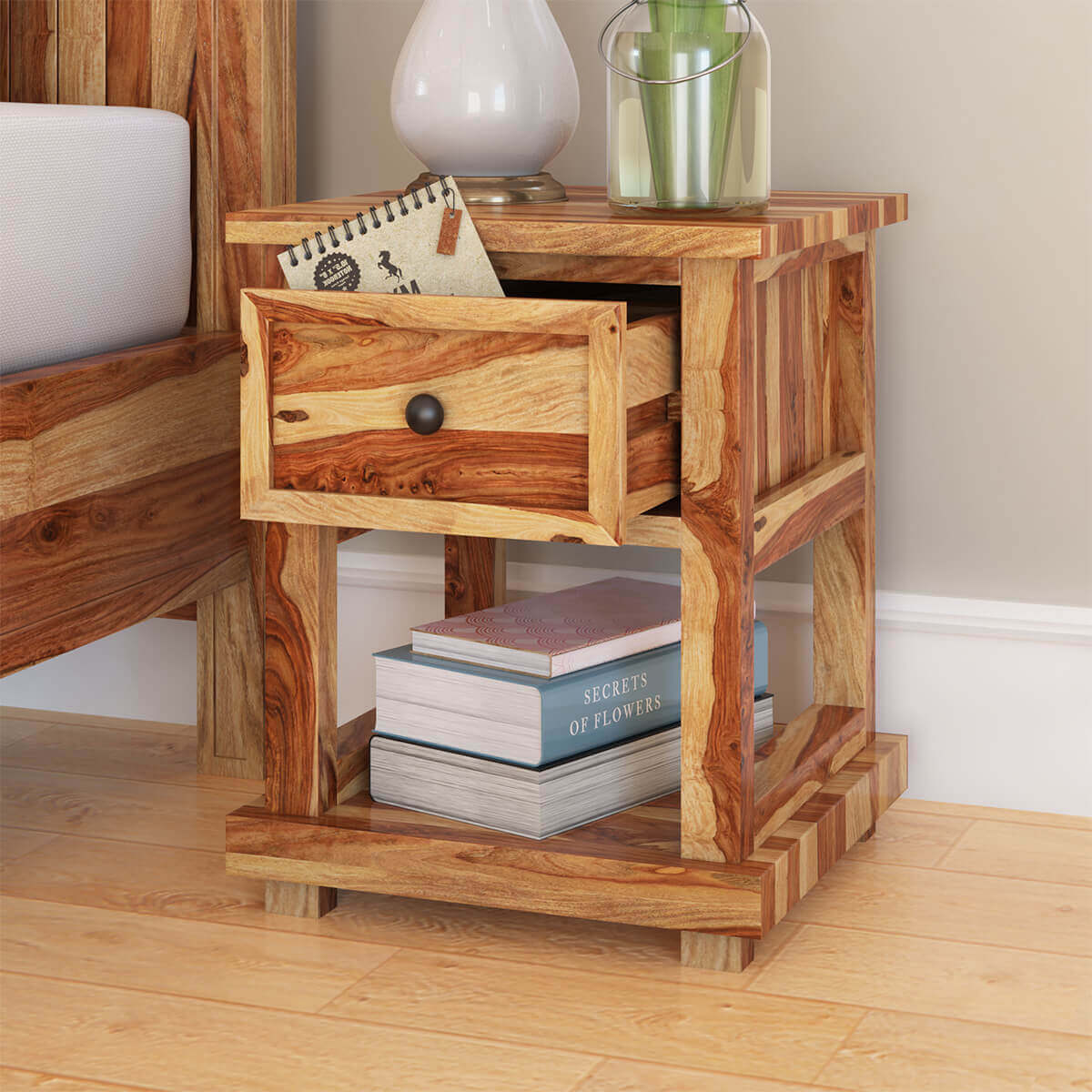 Larvik Rustic Solid Wood 1 Drawer Nightstand