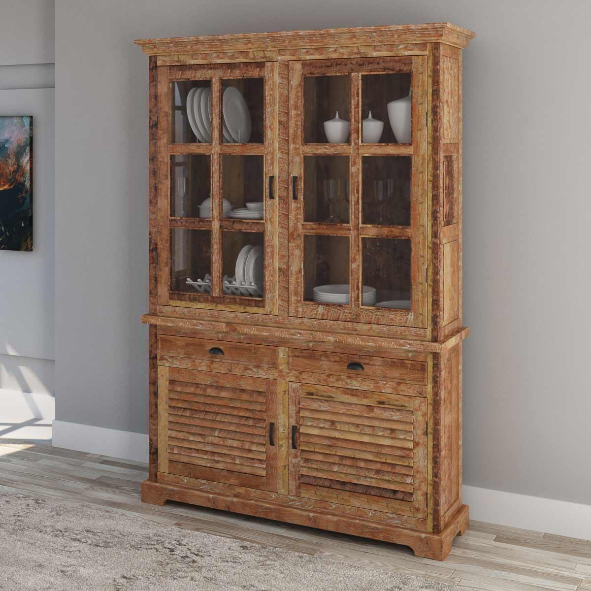 Britain Rustic Teak Wood Tall Handcrafted Hutch