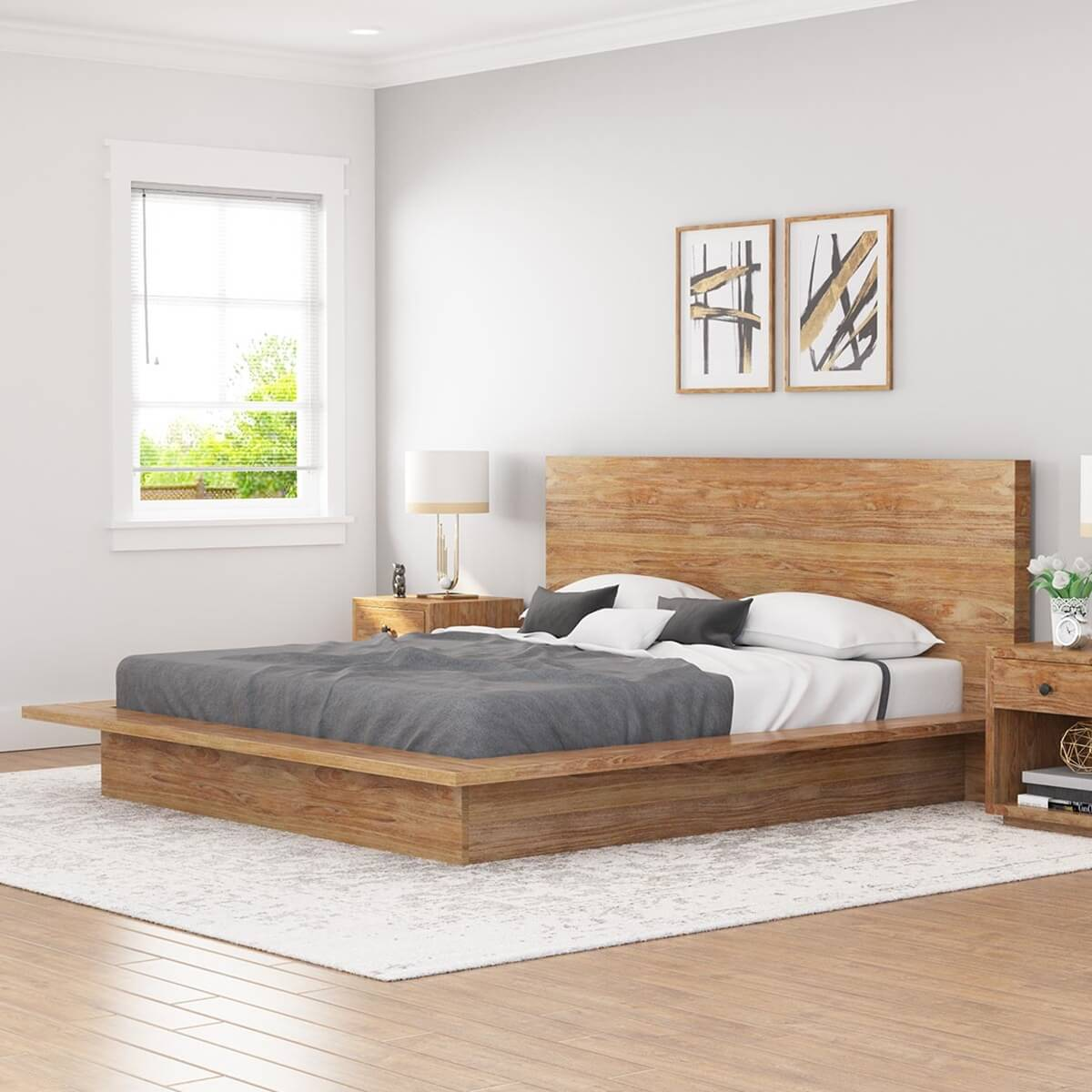 Picture of: Britain Low Height Farmhouse Teak Wood Platform Bed Frame With Headboard