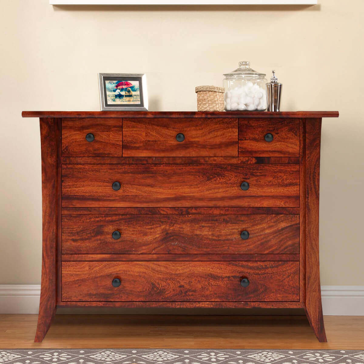 Georgia Rustic Solid Wood 6 Drawer Bedroom Dresser