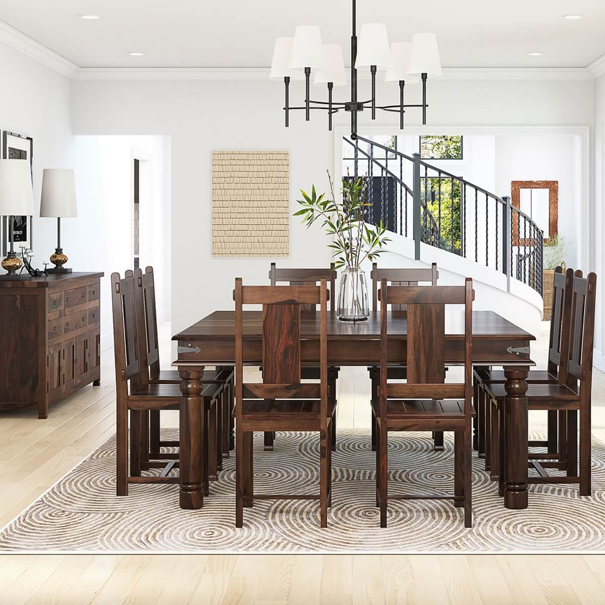 Richmond handcrafted rustic solid wood 10 piece dining room set hover to zoom