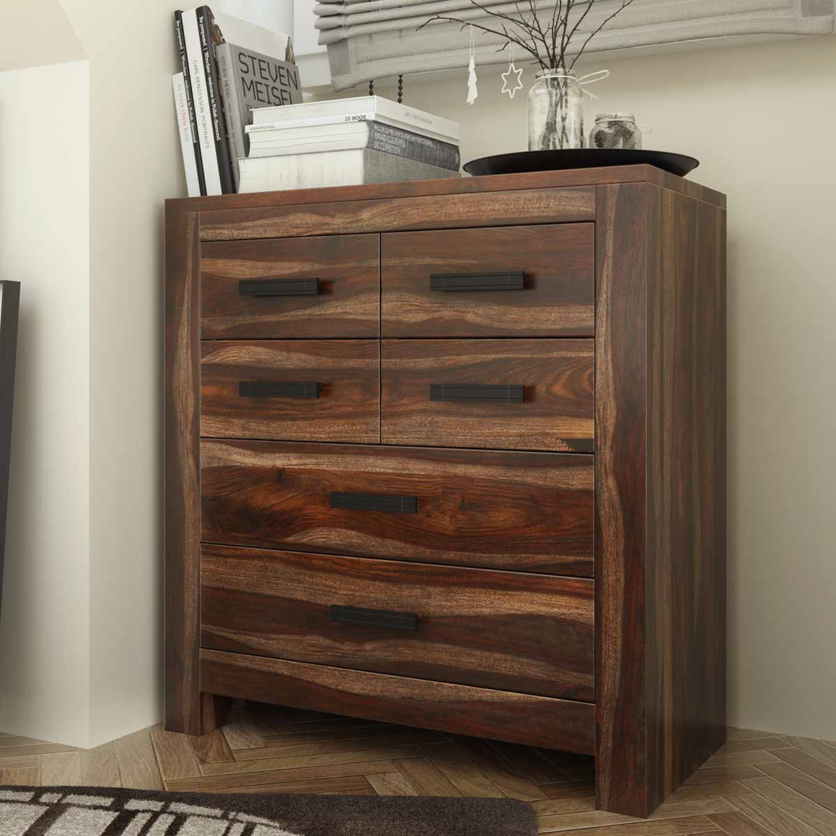 Roanoke Rustic Solid Wood 6 Drawer Dresser