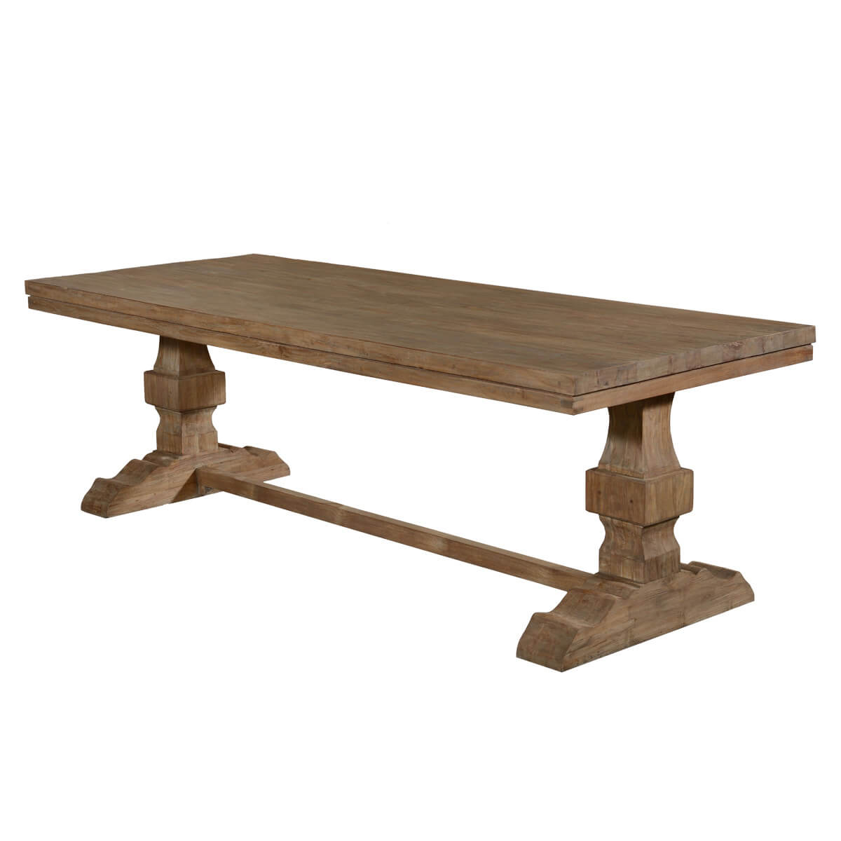 California Rustic Recycled Teak Trestle Base Farmhouse Dining Table