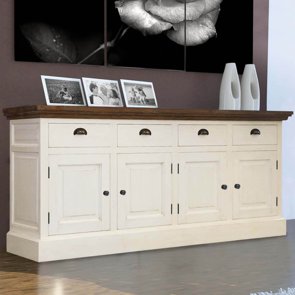 Georgia Elegant Teak and Solid Wood 4 Drawer 94 Extra Long Sideboard