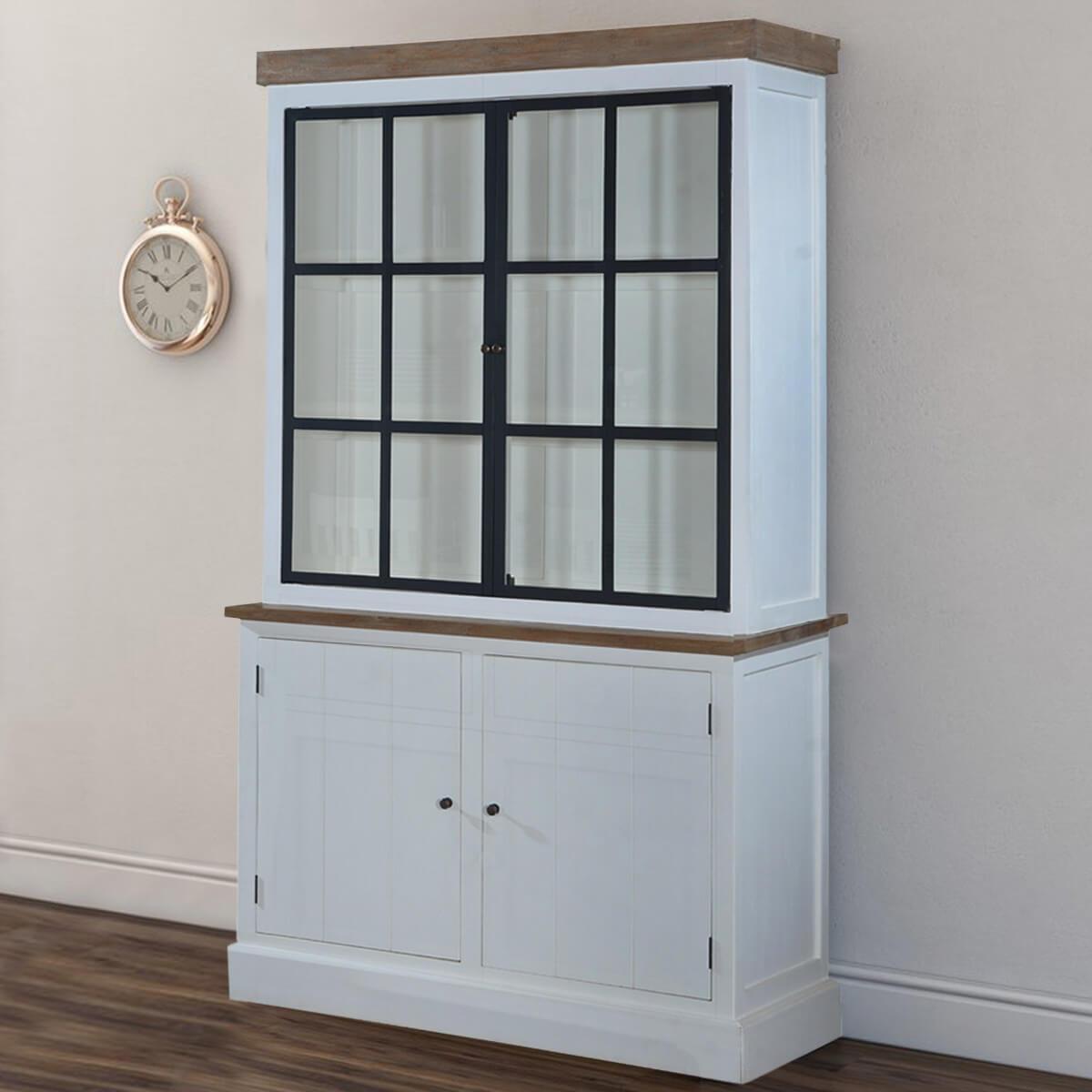 Glasgow Stylish Teak & Solid Wood Glass Door Dining Room White Hutch
