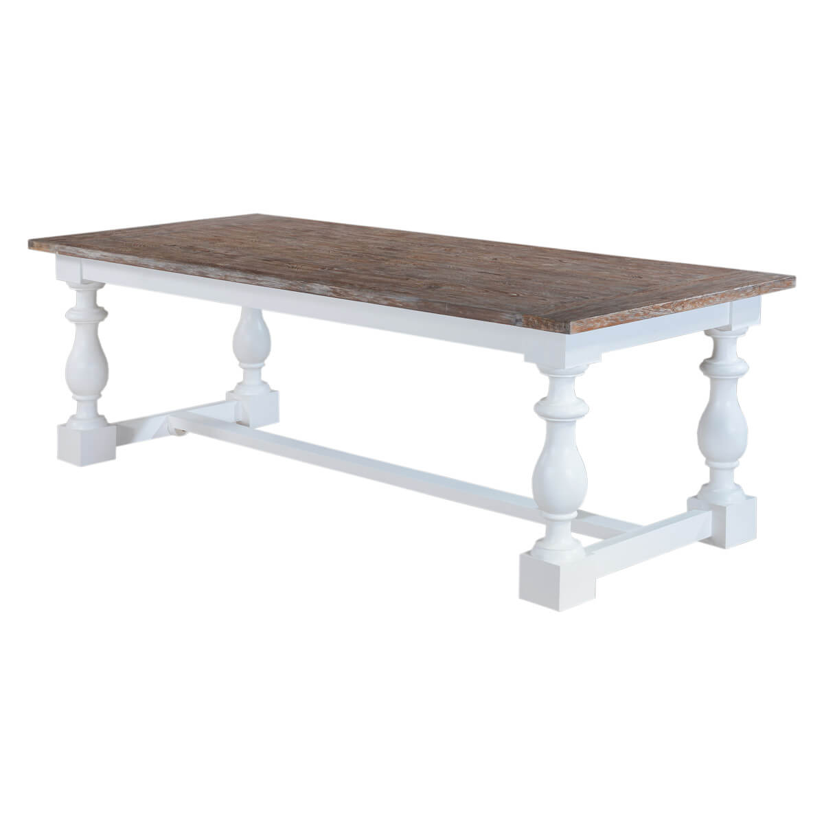 Danville Modern Rustic Solid Wood Trestle Baluster Dining Table