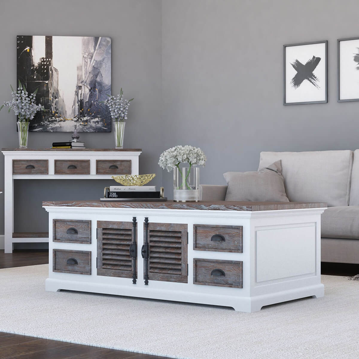 Danville Modern Teak and Solid Wood 8 Drawer Coffee Table Chest