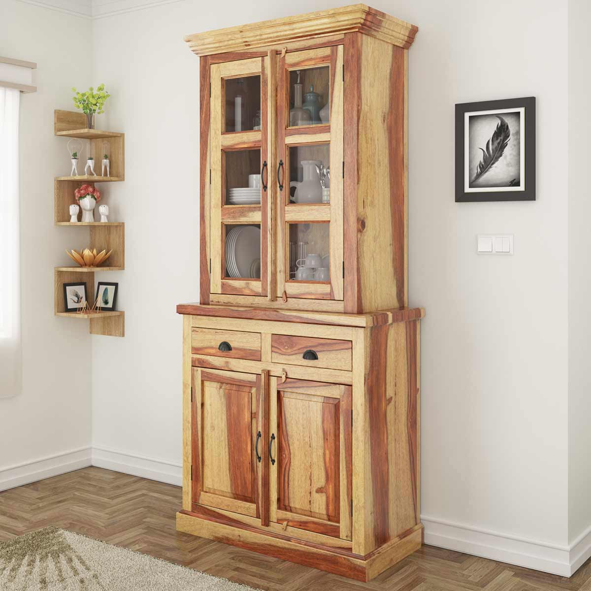 dining room hutches | Ostrander Rustic Solid Rosewood Tall Dining Room Hutch