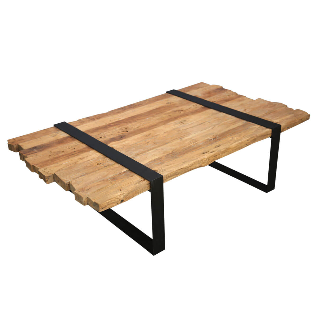 Awesome Garner Unique Teak Wood Plank Top Iron Base Coffee Table Short Links Chair Design For Home Short Linksinfo