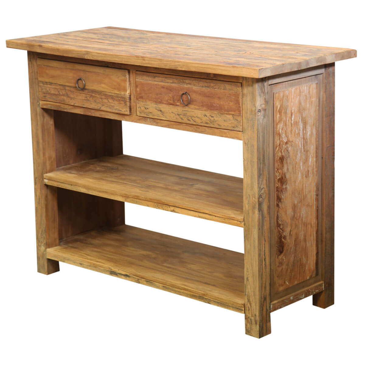 Lemont Simple Solid Teak Wood One Shelf 2 Drawer Console Table