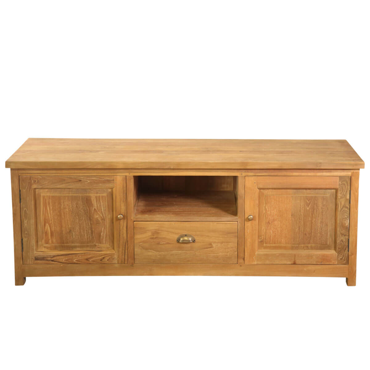 Marjorie Solid Teak Wood 2 Cabinet and 1 Drawer TV Stand