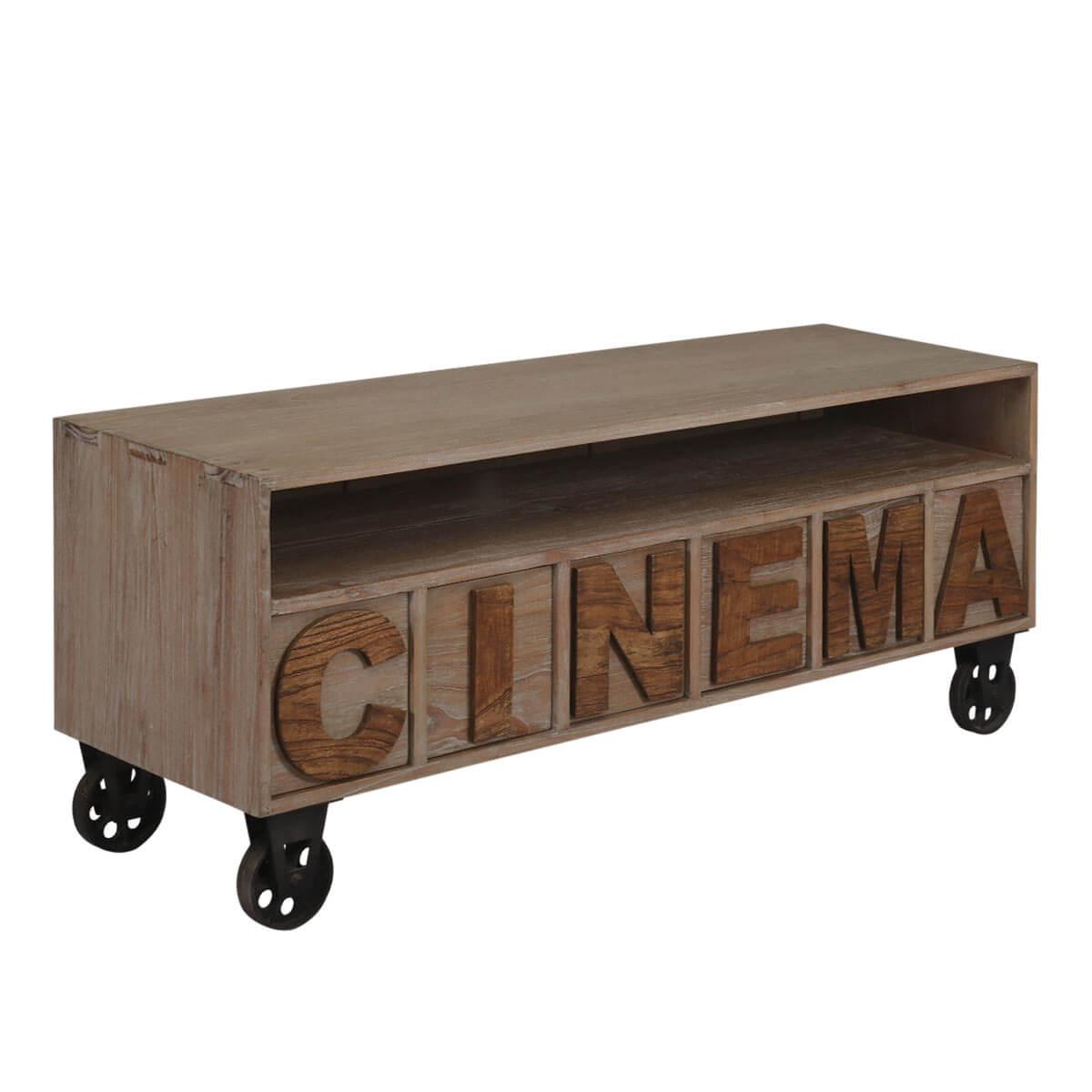 Racine Reclaimed Teak Wood 6 Drawer Open Shelf Industrial Tv Stand