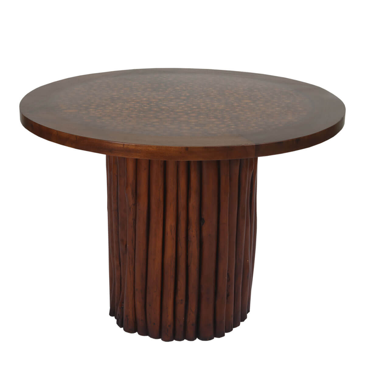 Parkerton Handcrafted Mahogany Wood Log Pedestal Round Dining Table