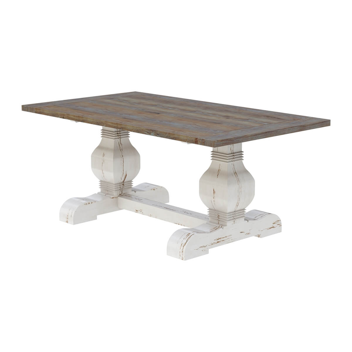 Greenville Farmhouse Two-Tone Teak Wood Trestle Pedestal Dining Table
