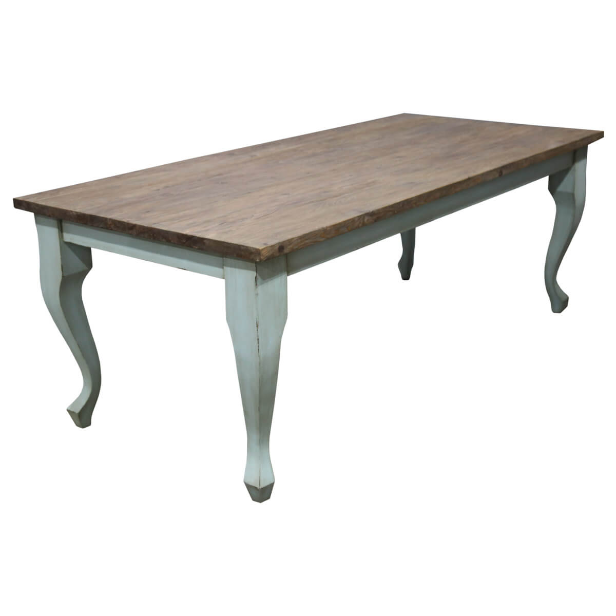 Compton Traditional Two Tone Teak Wood Cabriole Leg Dining Table