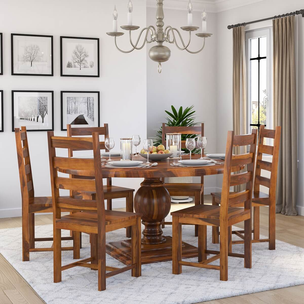 Picture of: Cloverdale Solid Wood Round Dining Table With 6 Chairs Set