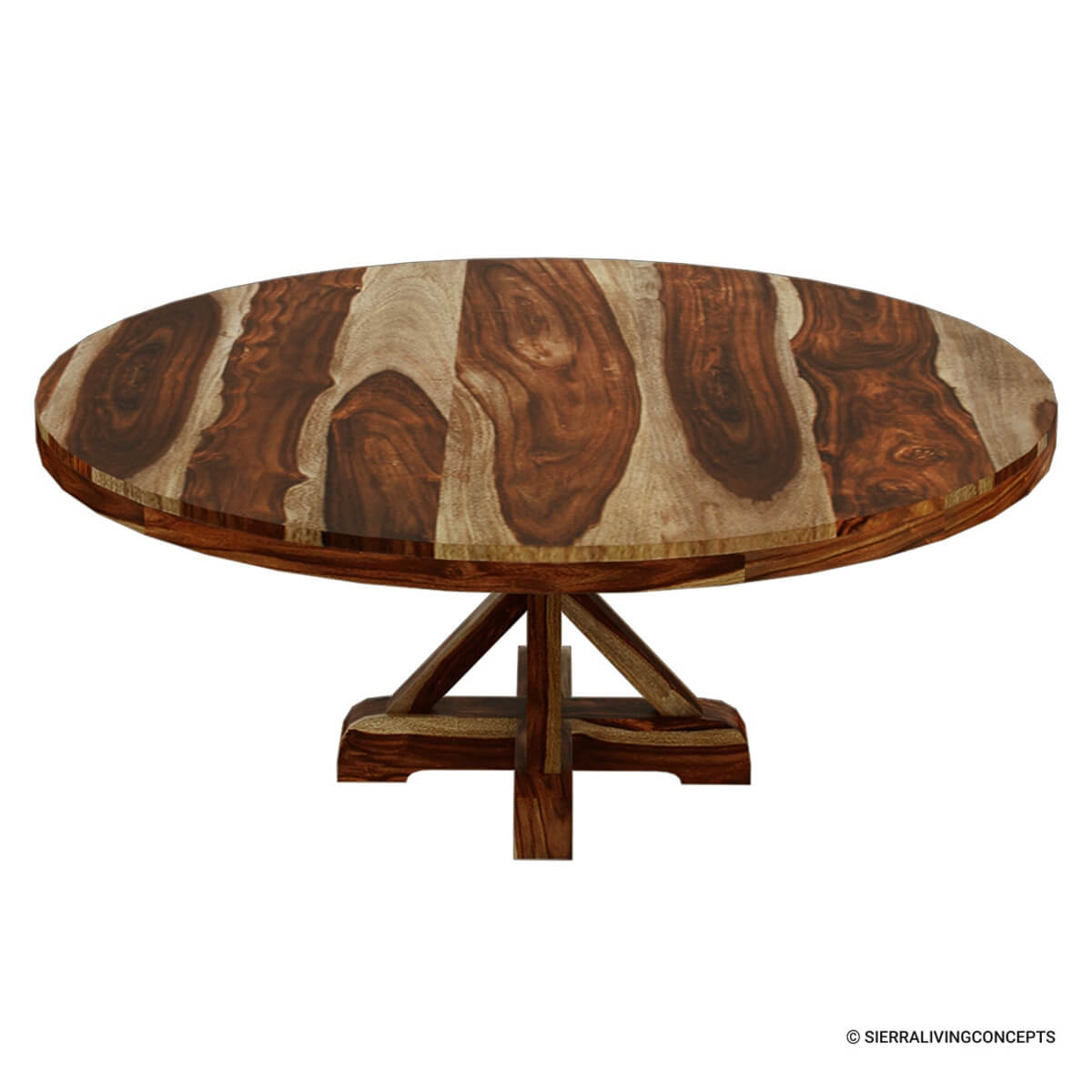 Bedford X Pedestal Rustic 72 Quot Round Dining Table With 8