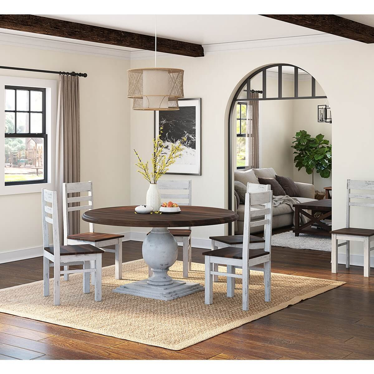 "Round Dining Room Table Seats 8: Illinois Two Tone Large Round 72"" Dining Table With 8"