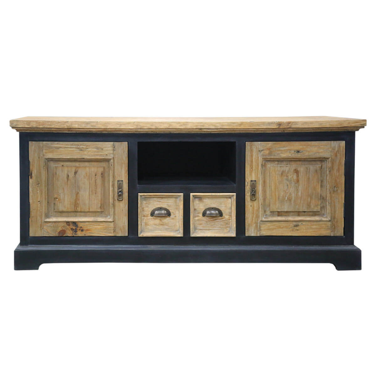 Carterville Rustic Teak And Mahogany Wood 2 Drawer 2 Cabinet Tv Stand