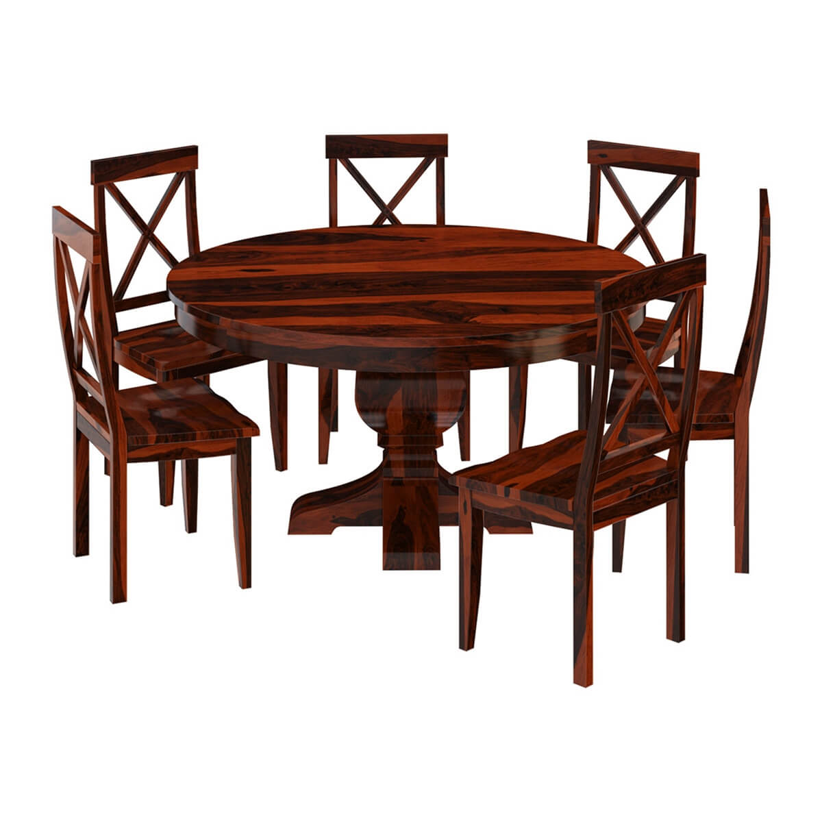 Missouri Solid Wood Round Pedestal Dining Table With 6