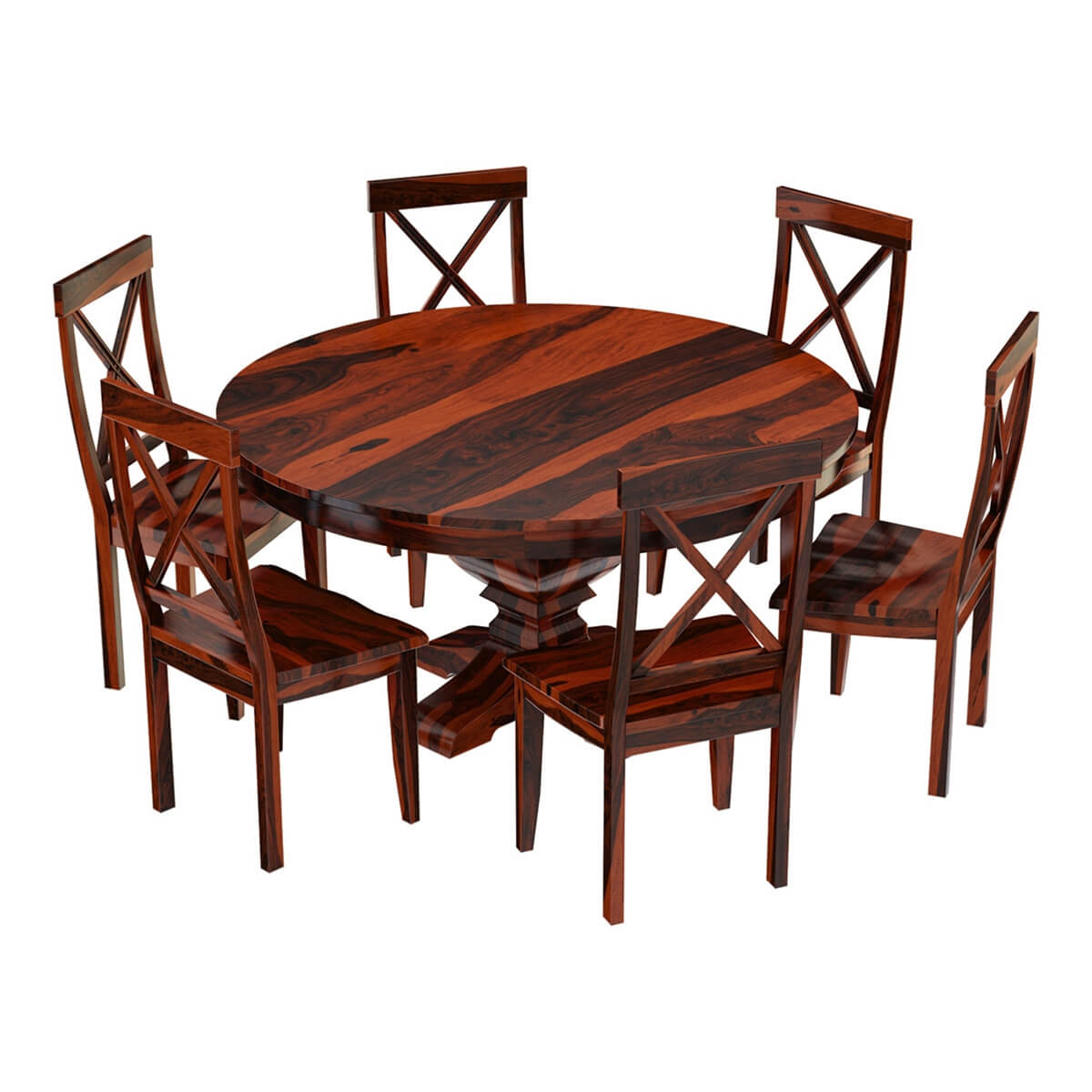 Missouri Solid Wood Round Pedestal Dining Table with 6 ...