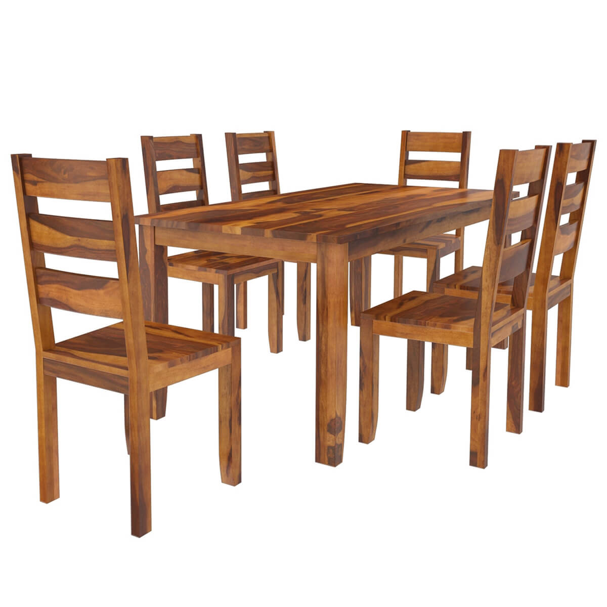 Idaho Modern Rustic Solid Wood Dining Table Chair Set: Cariboo Contemporary Rustic Solid Wood Dining Table And