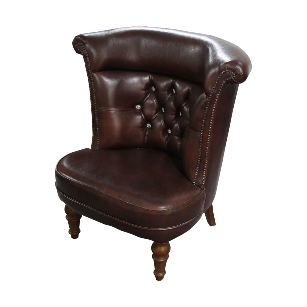Pittsburgh Studious Mahogany Wood Leather Tufted Accent Barrel Chair