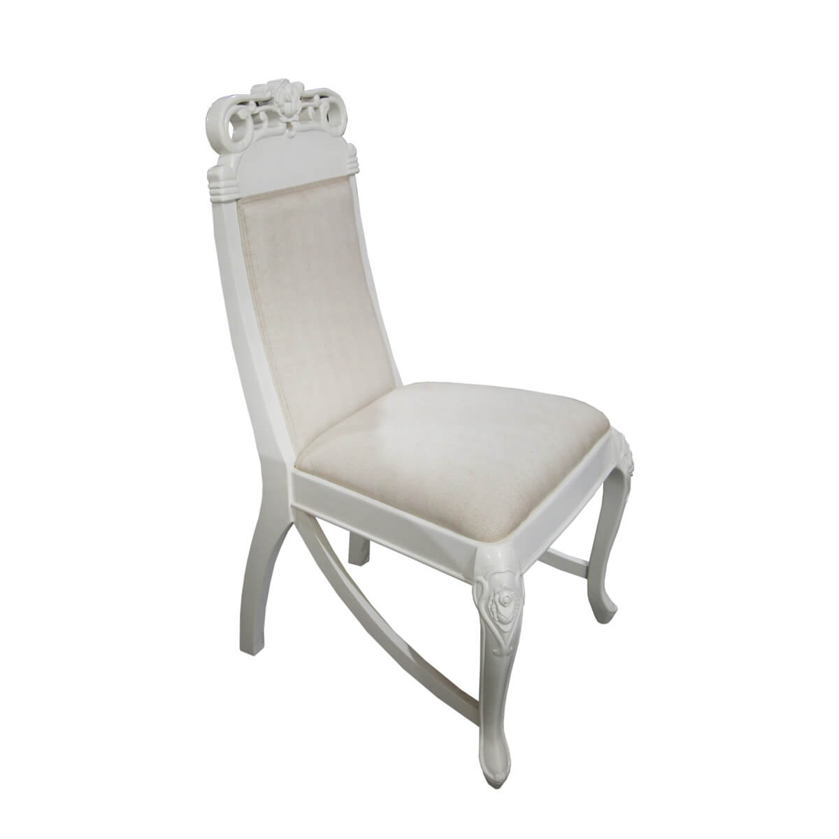 Gothenburg Traditional White and Ivory Mahogany Wood Dining Chair