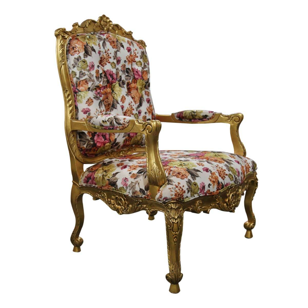 Oldbury Handcrafted Mahogany Wood Royal Floral Upholstered Arm Chair