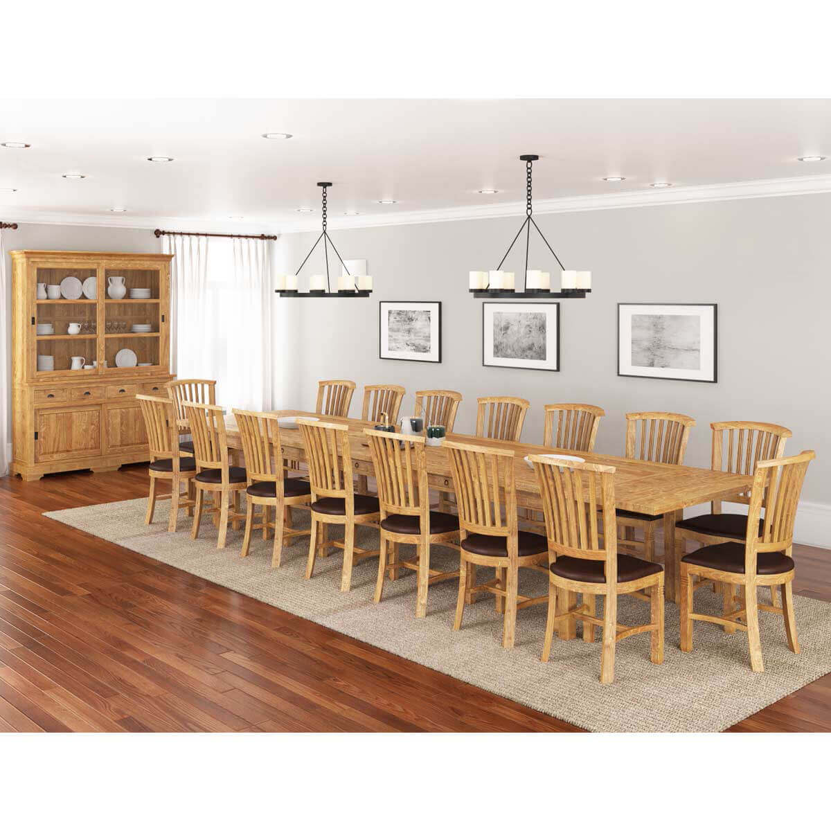 Brussels Rustic Reclaimed Teak Wood 18 Piece Dining Room Set