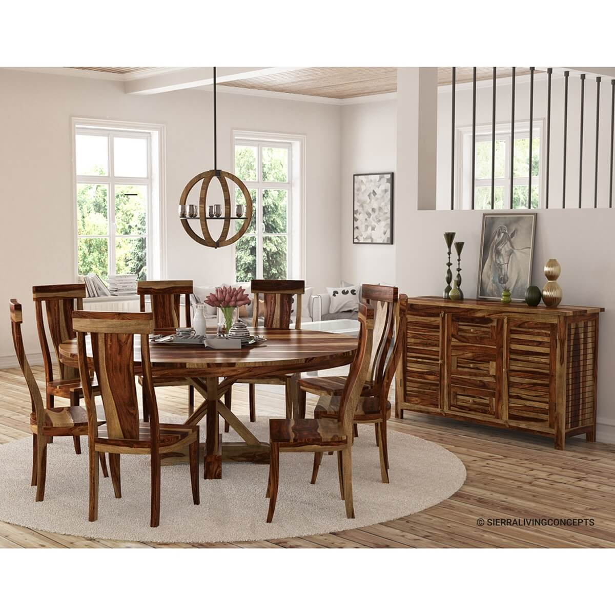 Bedford Rustic Solid Wood X Pedestal 10 Piece Round Dining Room Set