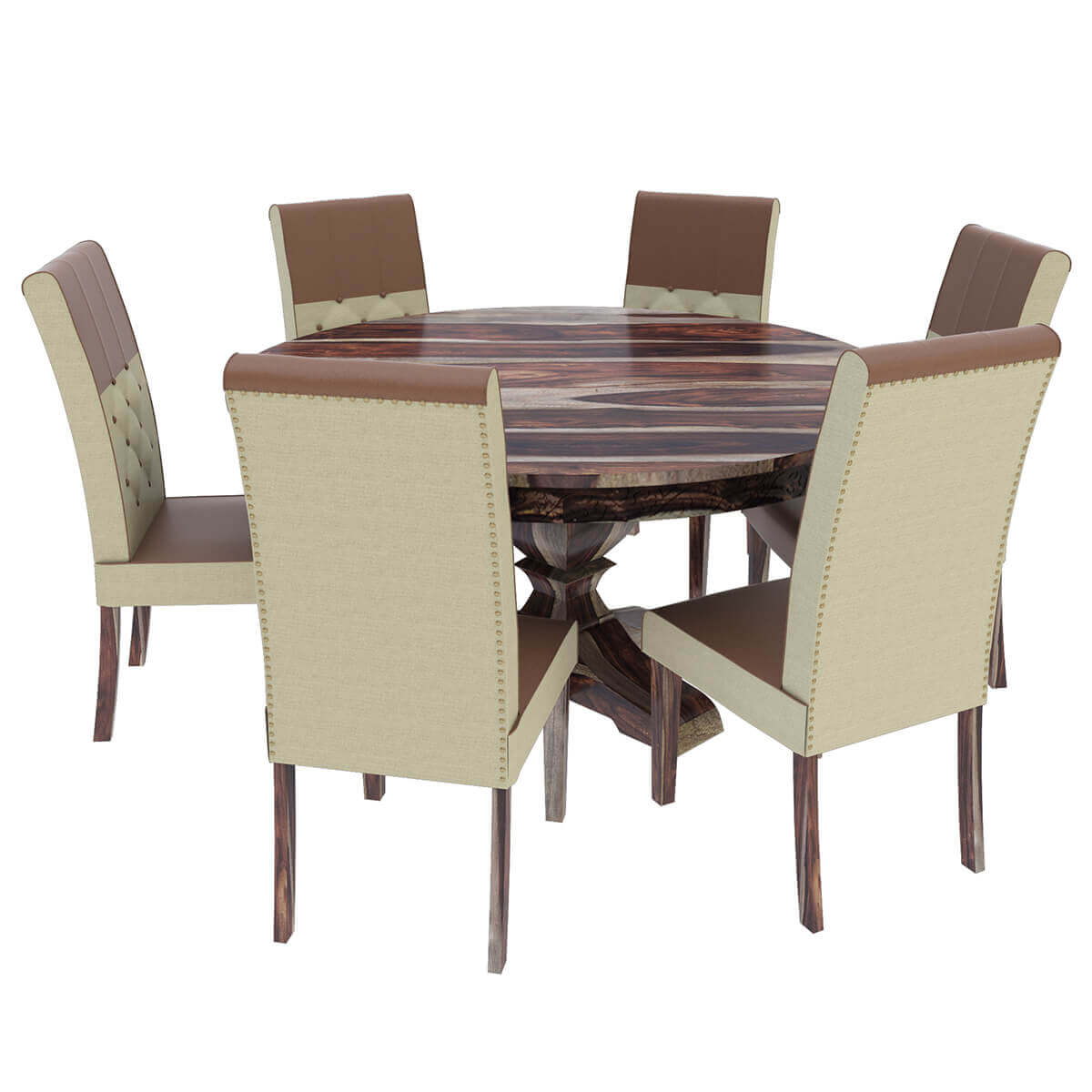 Hosford Handcrafted Solid Wood Round Dining Table And 6