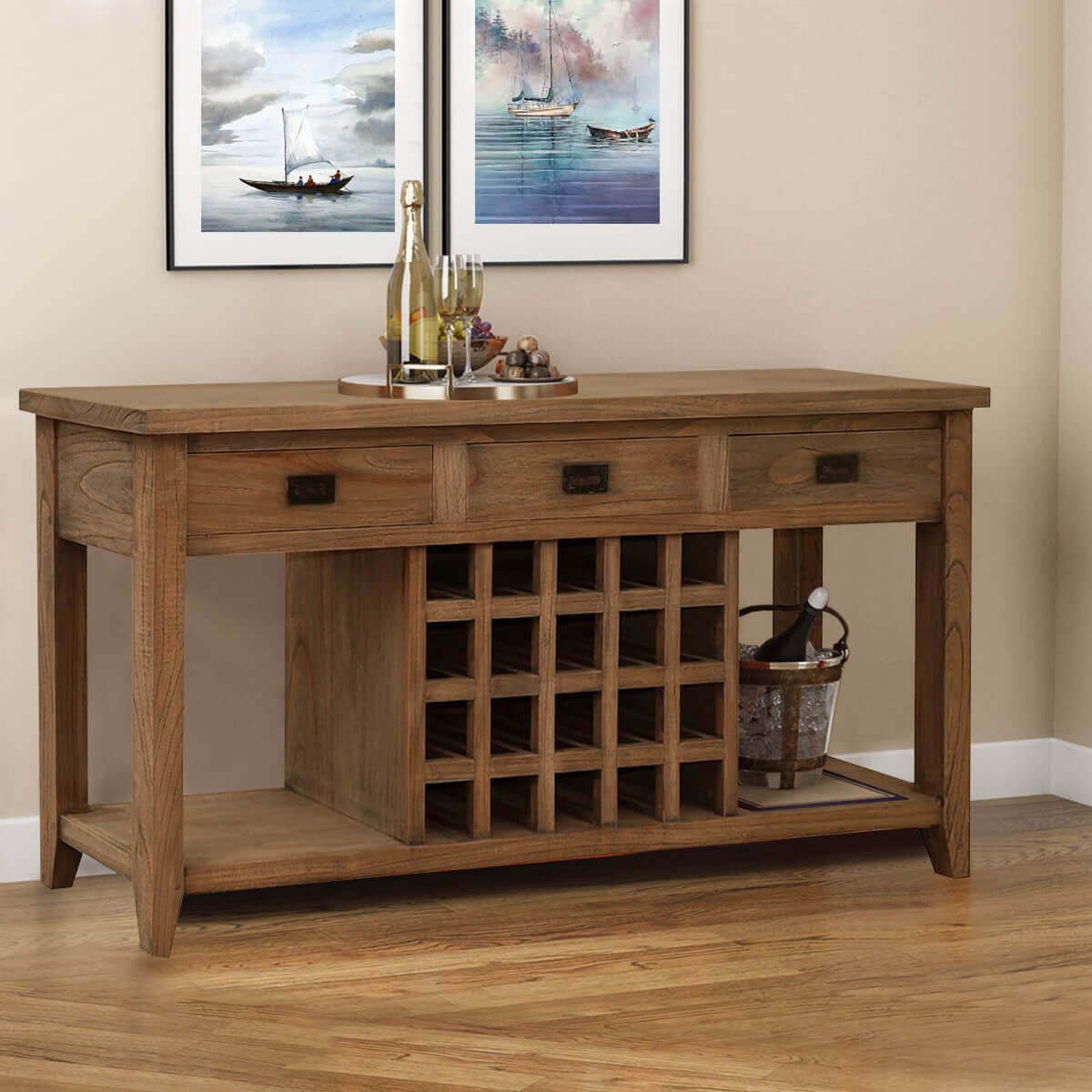Picture of: Mayport Teak Wood Rustic Wine Bar Buffet Cabinet