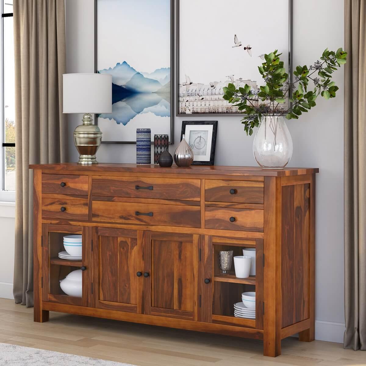 Cloverdale Solid Wood Glass Door 6 Drawer Large Sideboard Cabinet