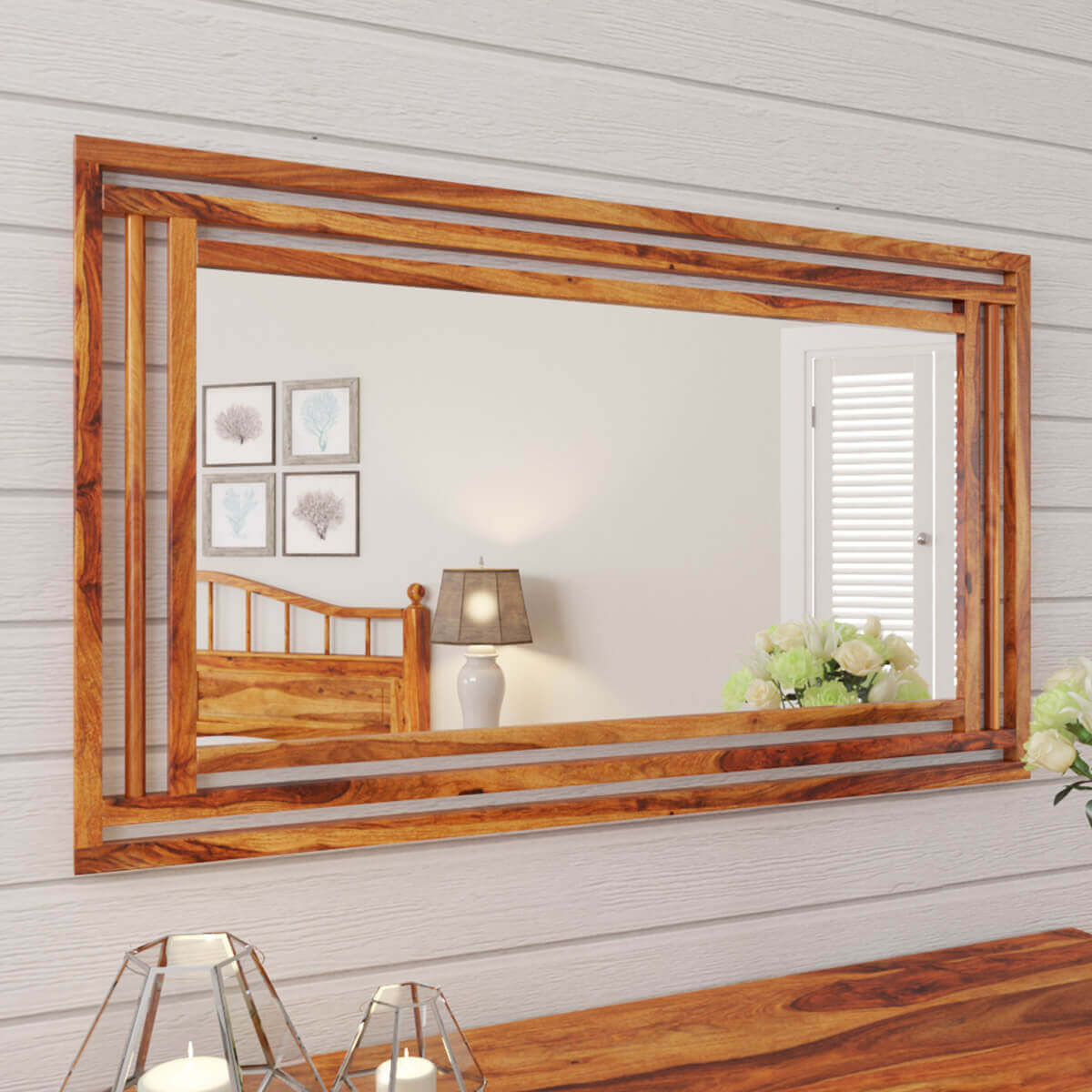 Colonial Rail Top Solid Wood Rustic Mirror Frame