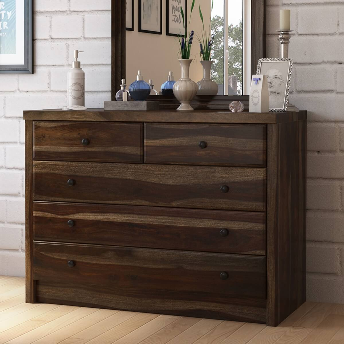 Paganus Solid Wood Rustic Style 5 Drawer Dresser