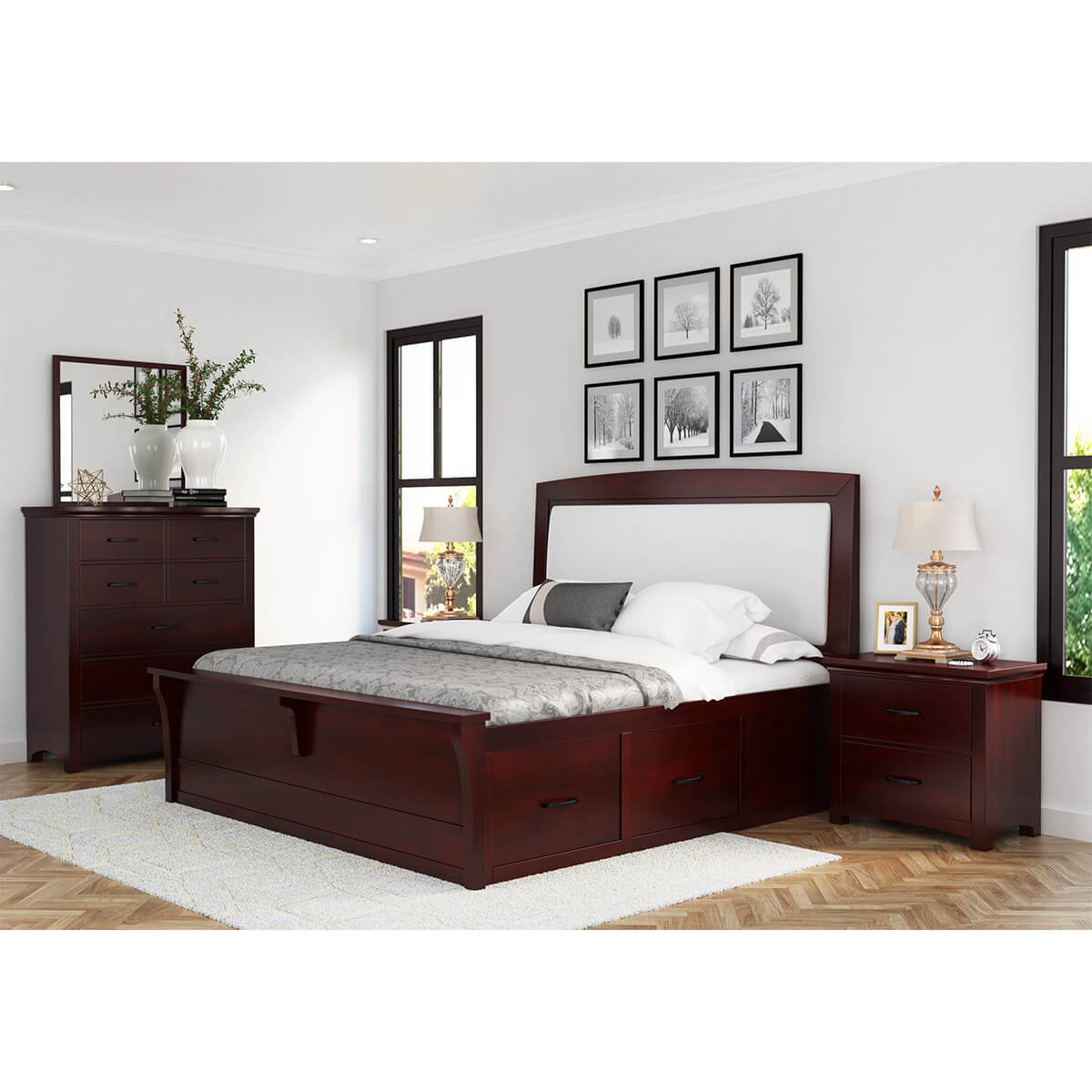 Vindemia Mahogany Wood 4 Piece Bedroom Set