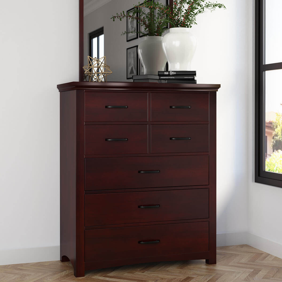 Vindemia Solid Mahogany Wood Tall Bedroom Dresser Chest With 7 Drawers