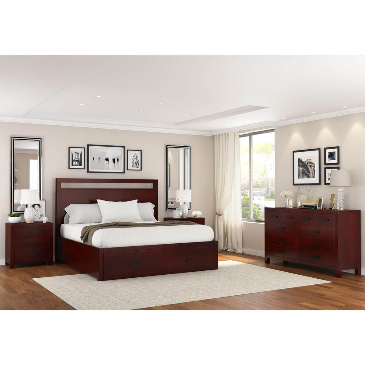 Cool Anniston Transitional Mahogany Wood 4 Piece Bedroom Set Download Free Architecture Designs Scobabritishbridgeorg