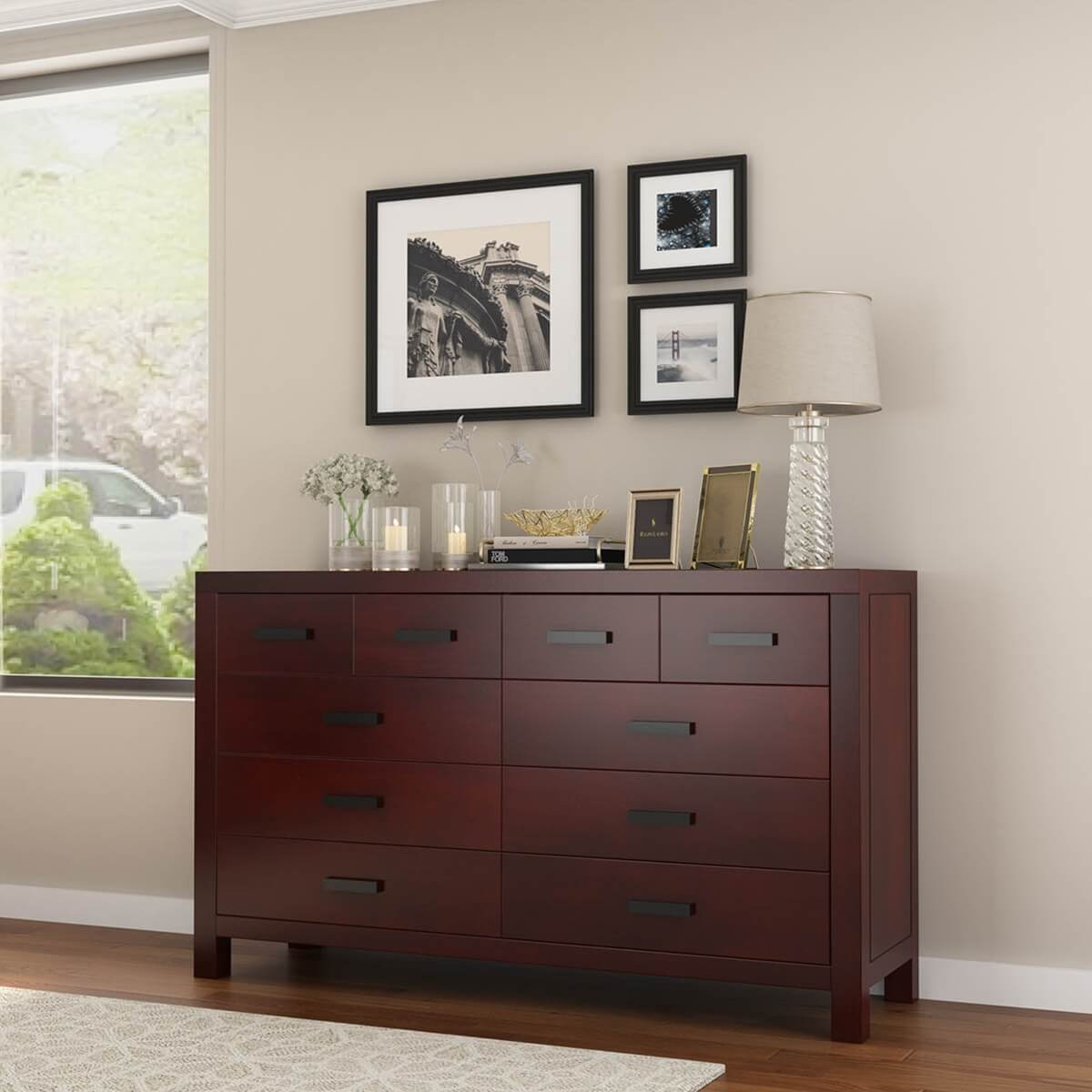 Anniston Transitional Style Mahogany Wood 10 Drawer Double Dresser