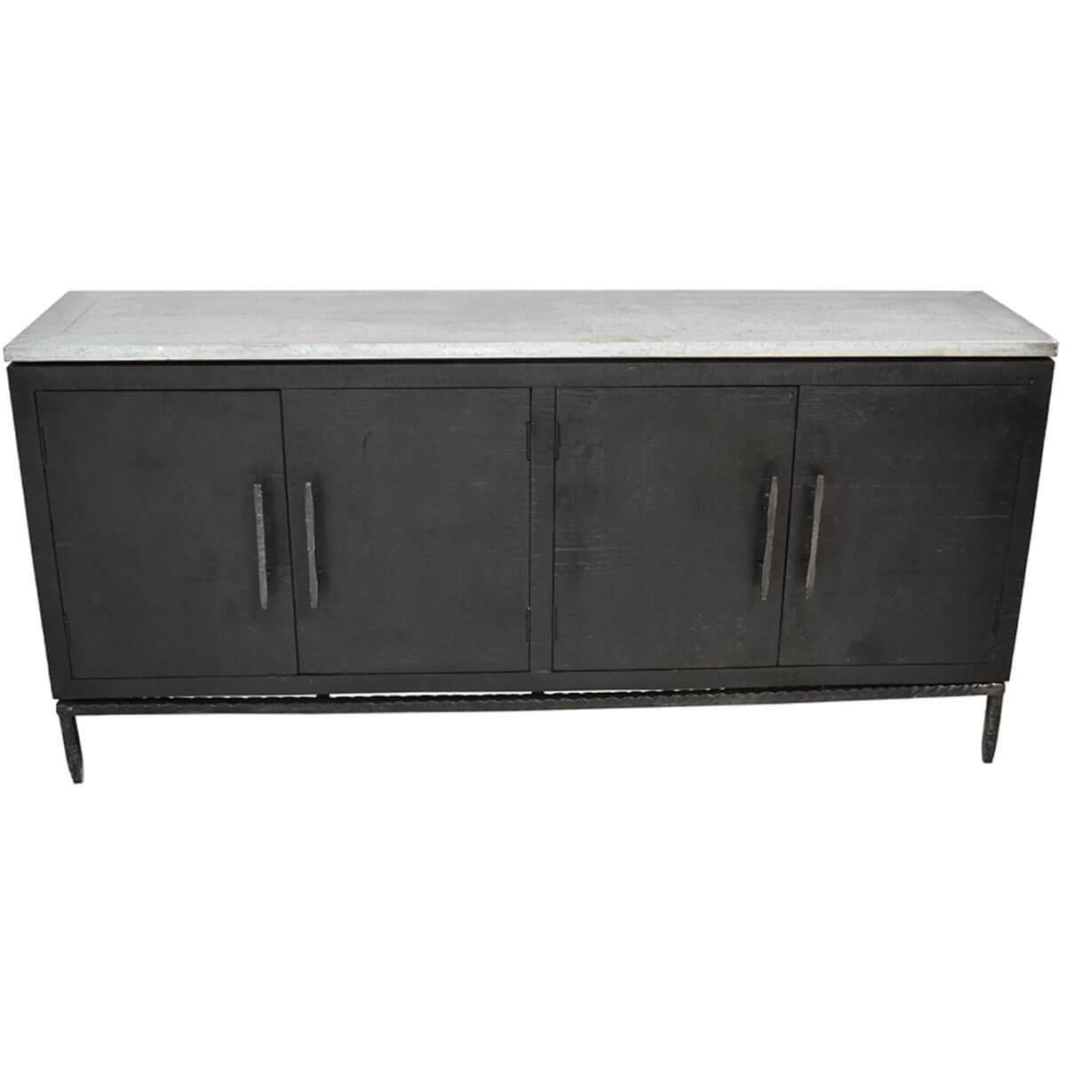 Briarcliff Industrial Style Metal Top Double Door Buffet Cabinet